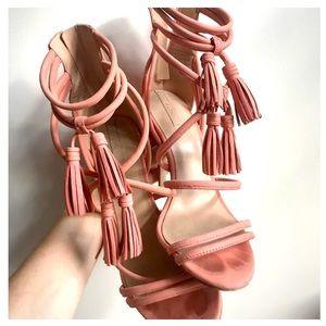 """Pink 4"""" Stilettos {with tassels (!!!) my dear}"""
